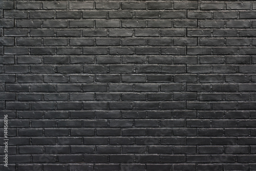 Photo sur Toile Brick wall Black brick wall for background, painted brick