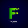 Letter F Pixel logo, Triangle, Arrow and forward logo, Green color,Technology and digital logotype