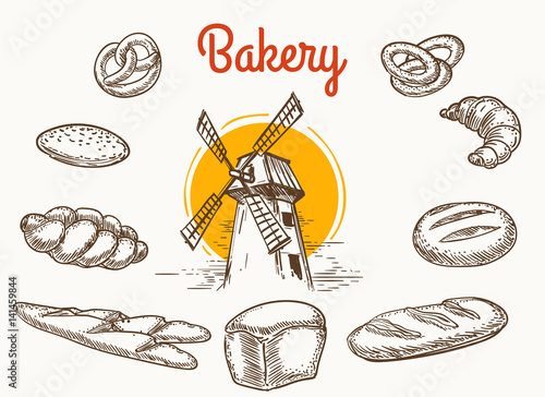 Vintage traditional bakery products vector sketch Fototapeta
