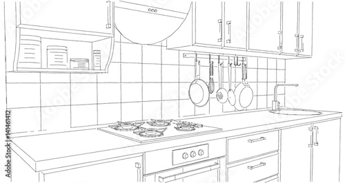 Small Kitchen Area With Utensils And Tile Splash Back Outline