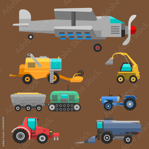 Foto op Aluminium Cartoon cars Agricultural vehicles and harvester machine combines and excavators icon set with accessories for plowing mowing, planting and harvesting vector illustration.
