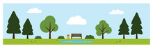 Park Vector Including Bench, Trees, Bushes, Clouds, Pond, Ducks And Birds. Park Items Isolated On Background.