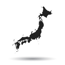 Japan Map Icon. Flat Vector Illustration. Japan Sign Symbol With Shadow On White Background.