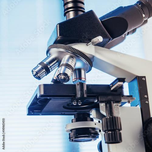 Fototapeta Close up of microscope at the laboratory. obraz na płótnie