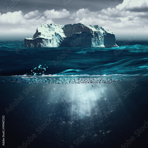 Tuinposter Koraalriffen Iceberg, marine backgrounds with north ocean and underwater landscape
