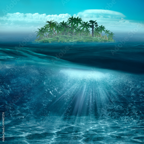 Fotobehang Koraalriffen Beauty tropical island in the blue ocean with underwater landscape