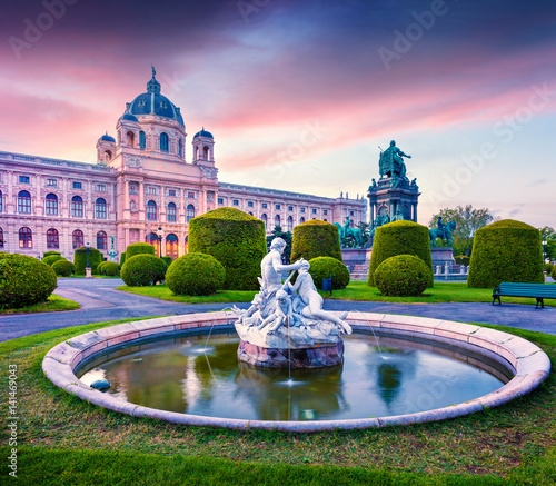 Garden Poster Vienna Colorful sunset in Maria Theresa Square