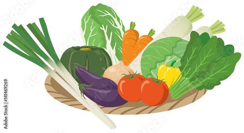 Obraz 野菜のイメージイラストセット_カゴ入り - fototapety do salonu