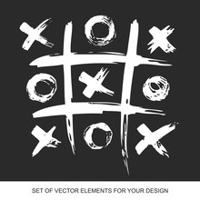 Tic Tac Toe. Painted Grunge Ink Blots Brush Texture Isolated. Background Handmade Design Elements.