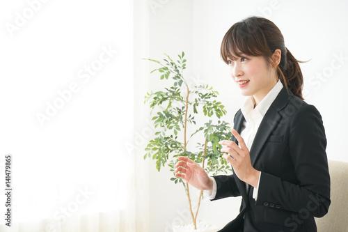 Fototapeta Young business woman with smile obraz na płótnie