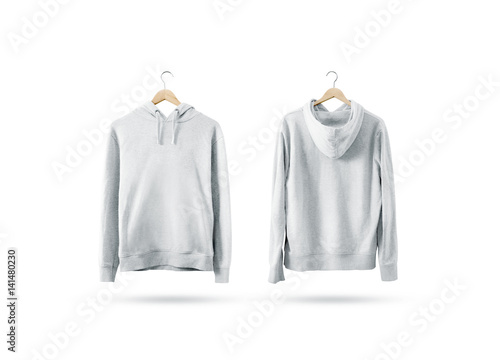 Blank white sweatshirt mockup set hanging on wooden hanger, front ...