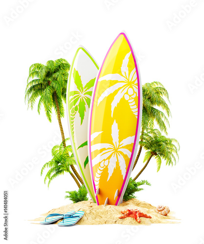 Surf boards on paradise island
