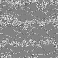 Panel Szklany Góry seamless pattern with trees and mountains