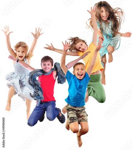Fototapeta group of happy cheerful sportive children jumping and dancing obraz na płótnie