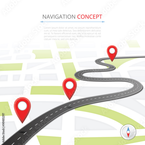 Foto Navigation concept with pin pointer vector illustration