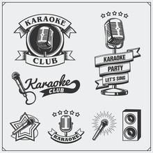 Vector Set Of Karaoke Vintage Labels, Badges And Design Elements. Karaoke Club Emblems.