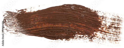 Obraz Smear of brown paint isolated on white background - fototapety do salonu
