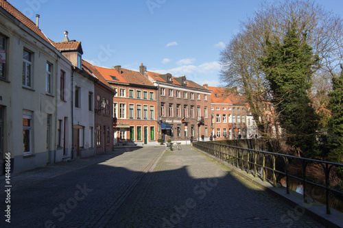 Recess Fitting Nice Architecture of bicked street of Brugge town in Begium