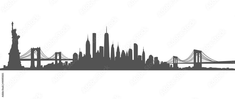 Fototapety, obrazy: New York City Skyline Vector black and white