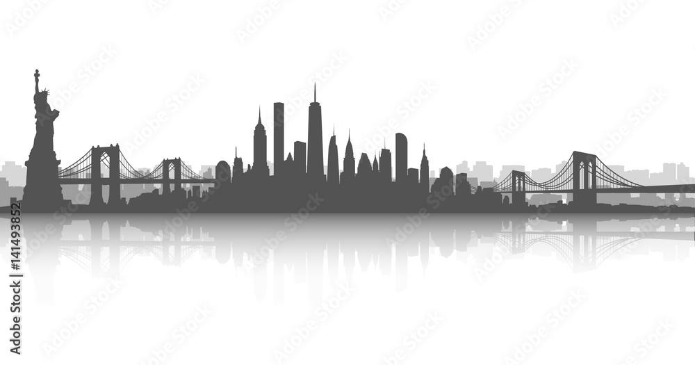 Fototapety, obrazy: New York City Skyline Vector White and White