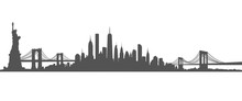 New York City Skyline Vector Black And White