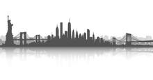 New York City Skyline Vector White And White