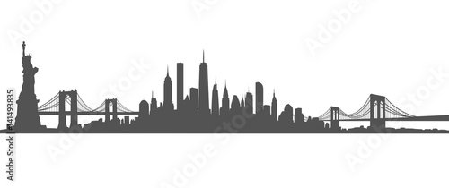 Obraz New York City Skyline Vector black and white - fototapety do salonu