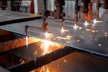 Oxygen Torch Cuts Steel Sheet....