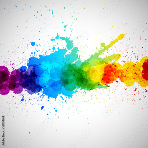 Holi background, abstract colorful splash paint blots. Bright spots and blobs for holiday design poster, card, banner, etc. Fototapete