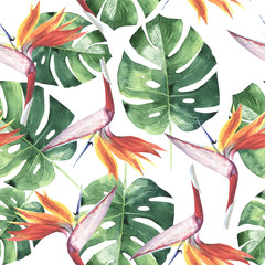 Fototapeta Inspiracje na wiosnę Tropical Hawaii leaves palm tree pattern in a watercolor style isolated.