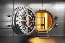 Vault Bank Door In Storage Room