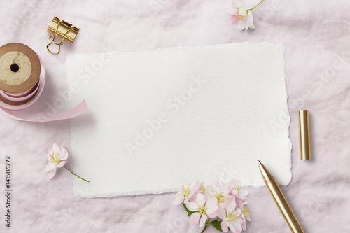 Bright Feminine Spring Stationery Mockup Scene With A Handmade Paper
