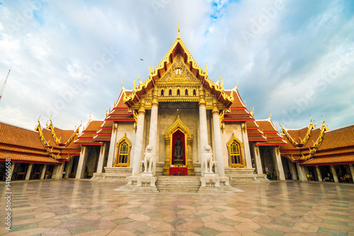 Poster Bangkok Marble temple wat benchamabophit blue sky