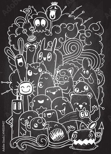 Staande foto Abstractie Art Hipster Hand drawn Crazy doodle Monster group,drawing style.Vector illustration