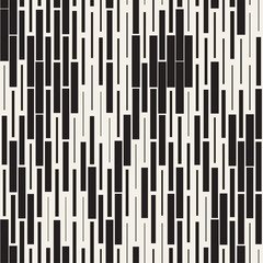Vector Seamless Black And White Irregular Dash Rectangles Grid Pattern. Abstract Geometric Background Design