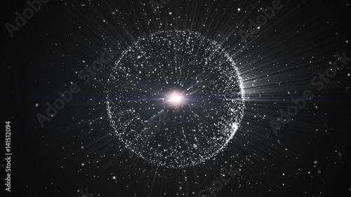 Obraz na płótnie Abstrakcyjne tło z okrągłym kształcie utworzonym z małych cząstek. Efekt świetlny.