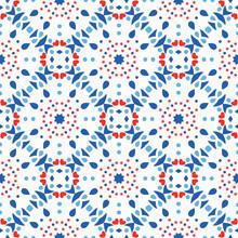 Blue Red Pattern Flower Tile B...