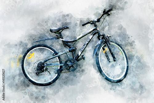 Cyfrowy obraz nowoczesny rower, styl akwarela.
