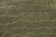Green Background From Soft Upholstery Textile Material, Closeup. Fabric With Pattern