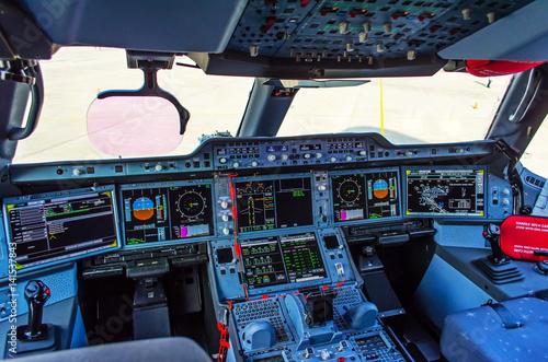 Modern cockpit in the passenger airliner