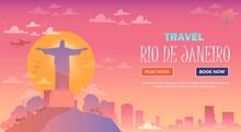 Travel In Rio De Janeiro, Brazil. Statue Of Jesus Christ On The Mountain. Flat Design.