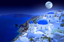 Full Moon Over Oia Town On Santorini Island, Greece