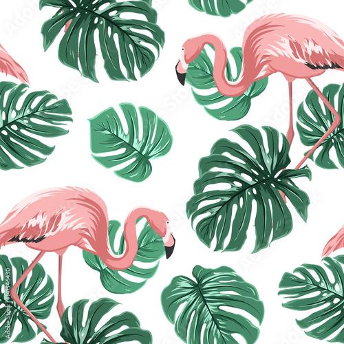 Materiał do szycia Pink flamingo ptaków i turkus zielony monstera pozostawia tropikalna dżungla egzotyczny raj wzór na białym backround. Ilustracja wektorowa projekt dla dekoracji, moda, tekstylia, tkaniny.