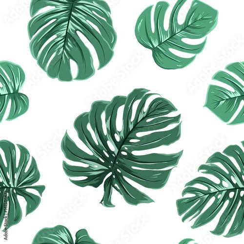 Materiał do szycia Tropikalny egzotyczne wielki turkusowy niebieski zielony monstera pozostawia wzór na białym tle. Ilustracja wektorowa projekt dla tkaniny, ozdoba, opakowania, opakowanie, włókienniczych, moda.