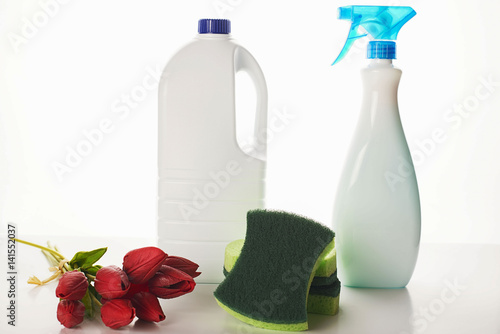 Fotografie, Obraz  The cleaning chemistry and flowers