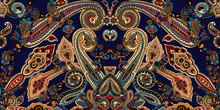 Abstract Geometric Paisley Pattern. Traditional Oriental Ornament. Vibrant Colors On Indigo Blue Background. Textile Design.