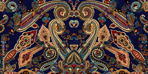 La pose en embrasure Style Boho Abstract geometric paisley pattern. Traditional oriental ornament. Vibrant colors on indigo blue background. Textile design.
