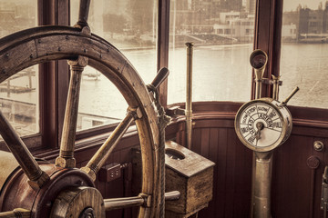vintage ship steering wheel...