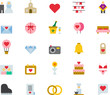 LOVE & WEDDING colored flat icons pack
