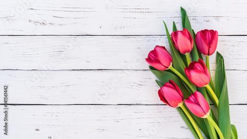 Deurstickers Struisvogel Tulpen Rot Blumen Strauss Frühling Ostern Holz Hintergrund weiss